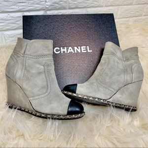 CHANEL gray suede wedge ankle boots size 37